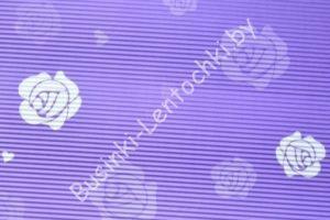 Бумага гофрированная (фиолетовая с розами)