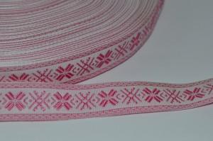 Лента (1,5см) декоративная (жаккардовая) белая с розовым рисунком