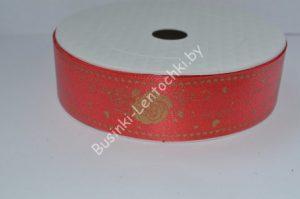 Лента (3см) бумажная красная с рисунком