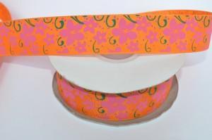 Лента (2,5см) репсовые с рисунком оранжевая