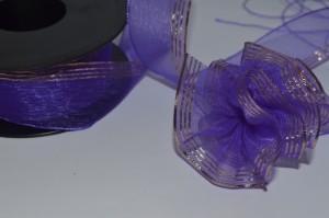 Лента (3см) капроновая тёмно-фиолетовая (стягивается в бант)