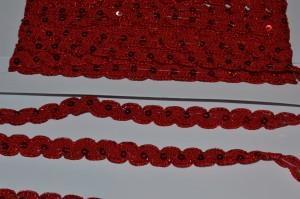 Тесьма (1,5см) «с паетками» красная
