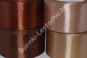 Лента (5см) атласная светло-коричневая