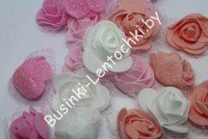 Головки роз (3,5см) из фоамирана с органзой
