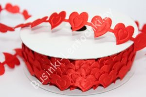 """Лента (2см) декоративная """"сердце двойное"""" красная"""