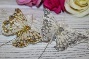 Бабочки (7,5см) с блёстками и стразами
