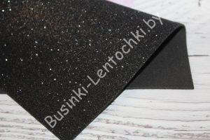 Фоамиран (2мм) глиттерный чёрный