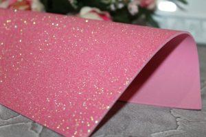 Фоамиран (2мм) глиттерный розово-персиковый