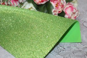 Фоамиран (2мм) глиттерный светло-салатовый
