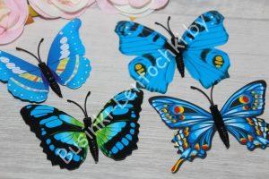 Бабочки (8см) пластиковые синие