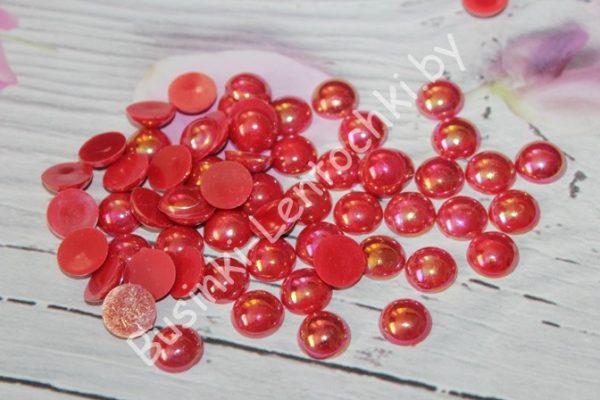 Полубусины (12мм) красные перламутровые