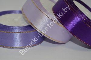 Лента (2,5см) атласная с люрексом фиолетовая