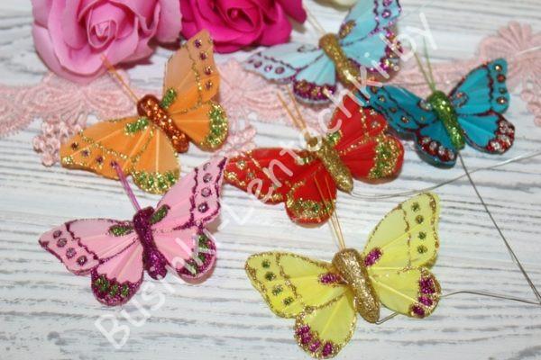 Бабочки (6см) с блёстками на проволоке
