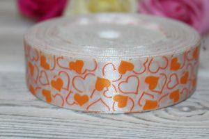 Лента (2,5см) атласная «сердечки оранжевые»