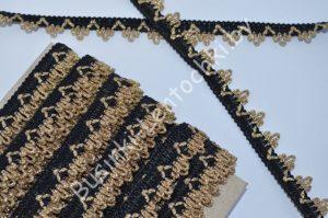 Тесьма (1,5см) вязаная чёрная с золотом