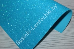 Фоамиран (2мм) перламутровый глиттерный ярко-голубой