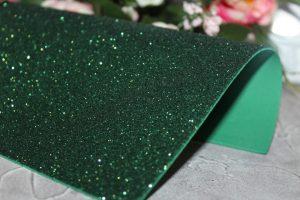 Фоамиран (2мм) глиттерный тёмно-зелёный