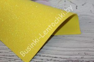 Фоамиран (2мм) перламутровый глиттерный жёлтый
