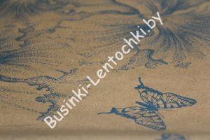 """Крафт-бумага (70см) голубая """"бабочка+цветы"""""""