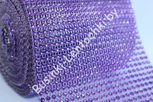 Лента (12см) имитация страз фиолетовая