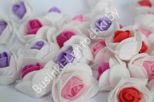 """Головки (3см) роз из фоамирана """"двухцветные"""" салатовые"""