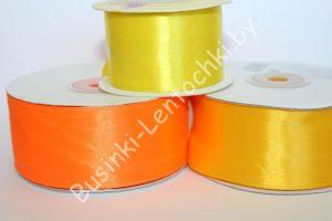 Лента (3,8см) атласная оранжевая
