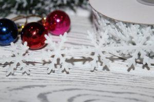 """Лента (2,5см) фигурная """"снежинка"""" белая"""