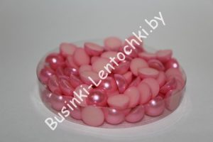 Полубусины (10мм) ярко-розовые