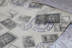 """Крафт-бумага (60см) """"марки"""""""