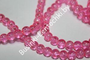 """Бусины (6мм) """"битое стекло"""" розовые"""