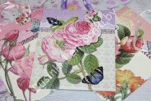 """Пакеты (26×32×12см) подарочные """"Цветы и бабочки"""""""