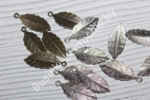 """Подвеска (31×12мм) «лист» """"серебро"""""""