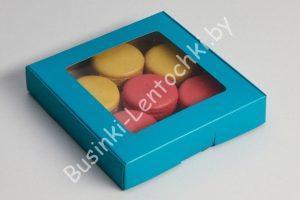 Крафт-коробка (16×16×3см) бирюзовая