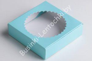 Крафт-коробка (11,5×11,5×3см) с круглым окошком голубая