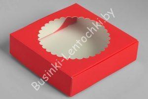 Крафт-коробка (11,5×11,5×3см) с круглым окошком красная