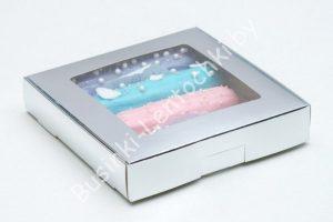 """Крафт-коробка (16×16×3см) """"серебро"""""""