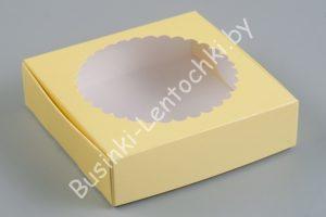Крафт-коробка (11,5×11,5×3см) с круглым окошком жёлтая