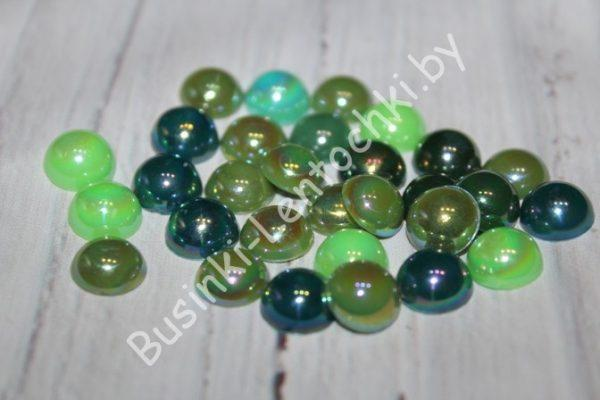 """Полубусины (10мм) зеленые перламутровые """"микс"""""""