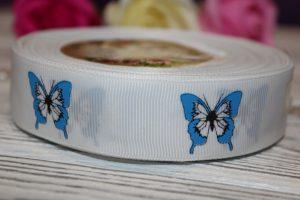 """Лента (2,5см) репсовая """"бабочка синяя"""" белая"""