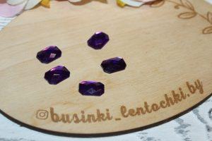 """Страза (10×14мм) термоклеевая """"прямоугольник"""" тёмно-фиолетовая"""