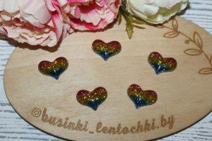 "Кабошон (2,5×2см) ""сердечко радуга"""