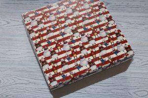 """Коробка (20×20×10см) упаковочная """"персонажи на полоске"""""""
