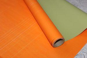 Плёнка (60см) двухсторонняя оранжево-фисташковая