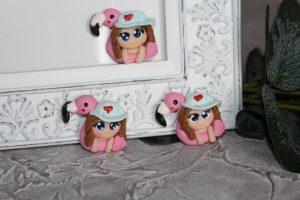 """Кабошон (3×3,5см) """"девочка и фламинго"""""""